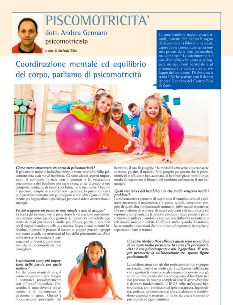 Articolo Psicomotricità Vicenza